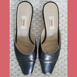 Talbots Made in Italy Black Leather Mules Sz 9M